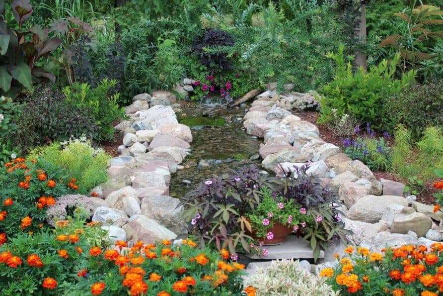 pondless stream with lush planting