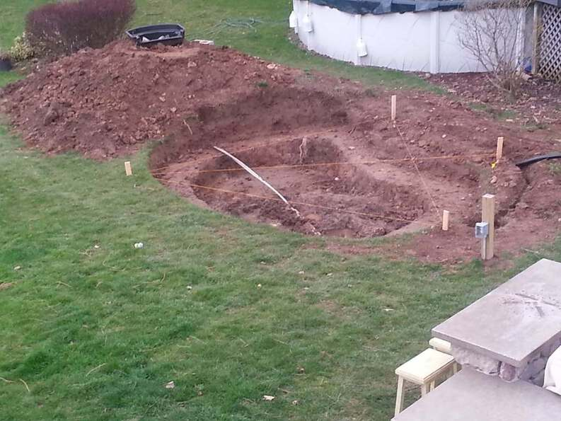 first level excavated digging a pond