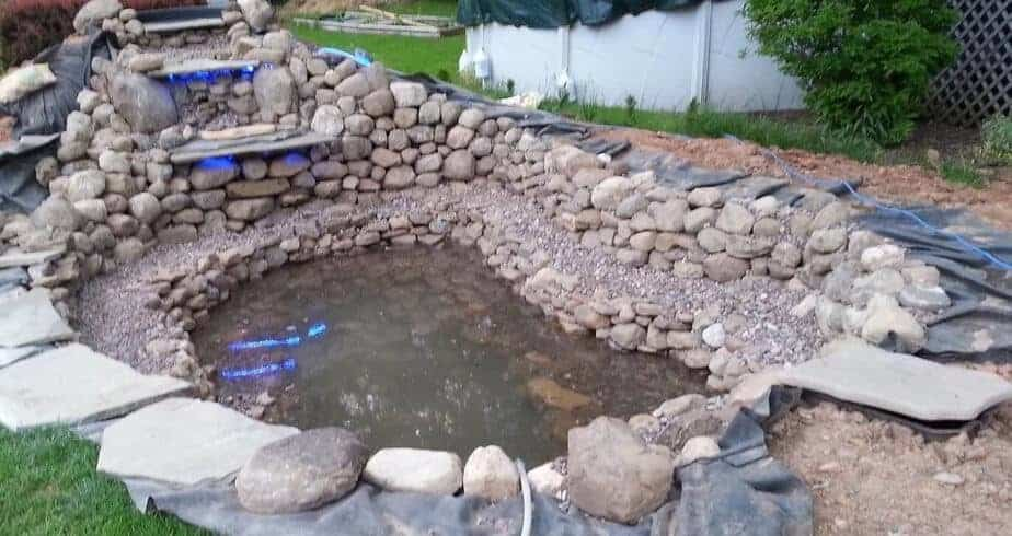 Fill up new pond build with water and check for leaks