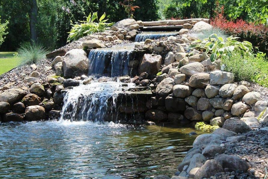 backyard water garden koi pond with waterfall