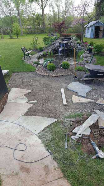 laying a flagstone patio