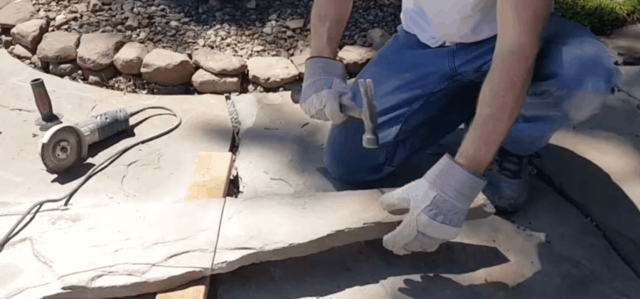 cutting flagstone with a diamond blade and an angle grinder
