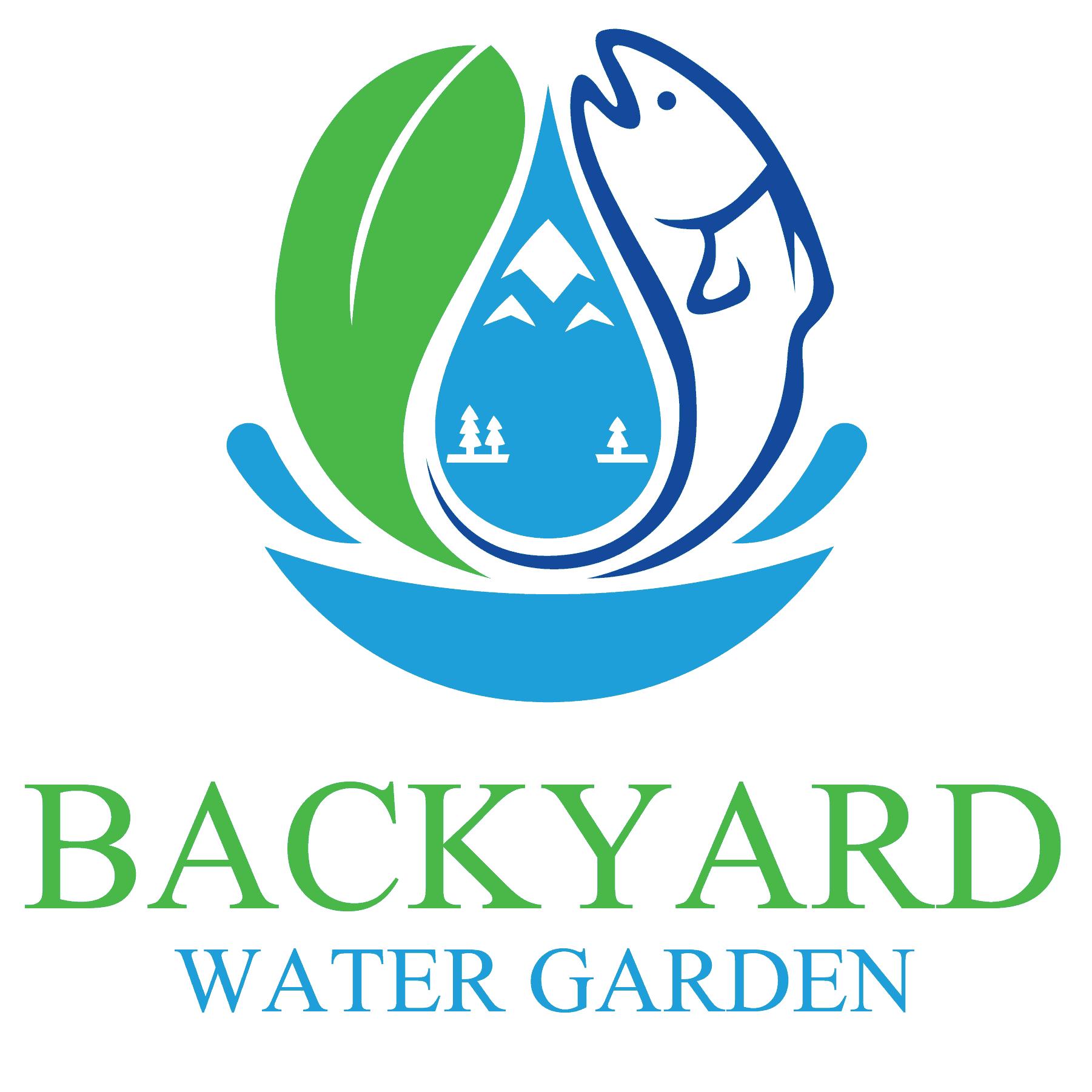 transparent backyard water garden logo