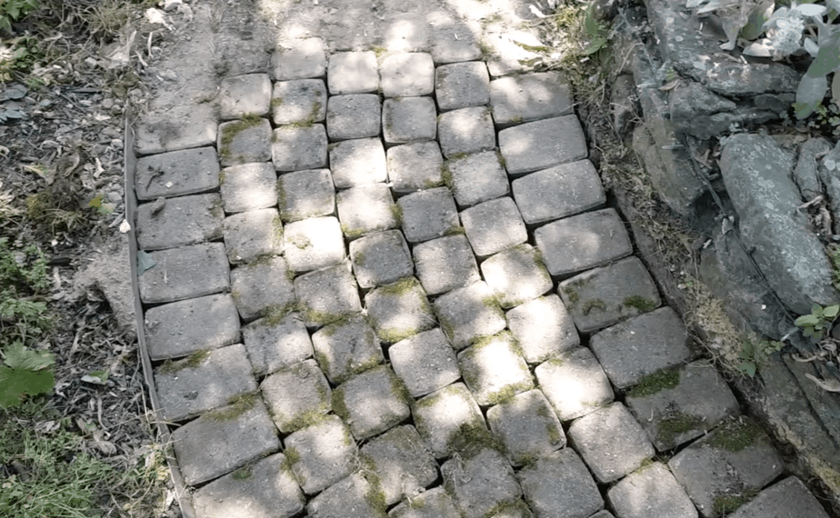 repaired brick walk