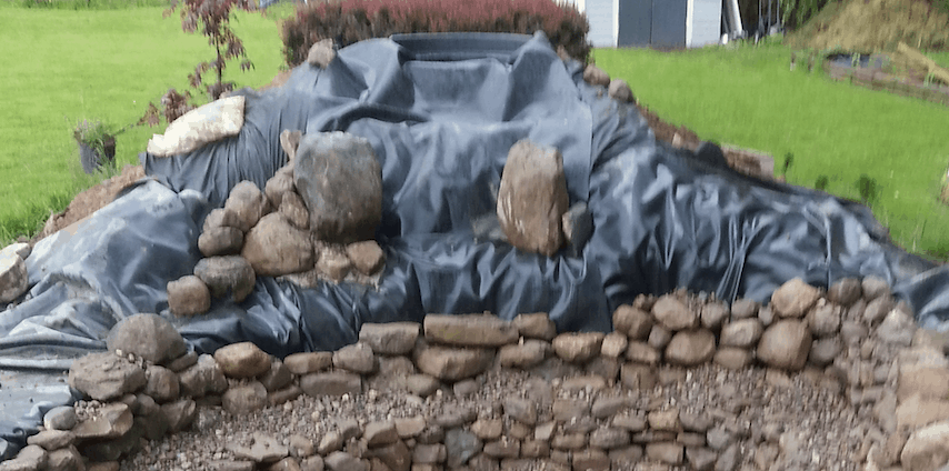 pond liner overlap for waterfall
