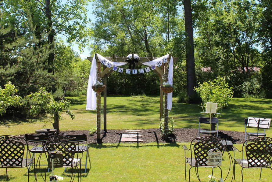 garden arbor wedding vow renewal